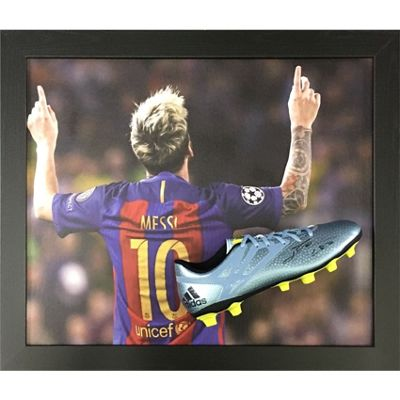 Framed and domed Lionel Messi from Barcelona, signed boot