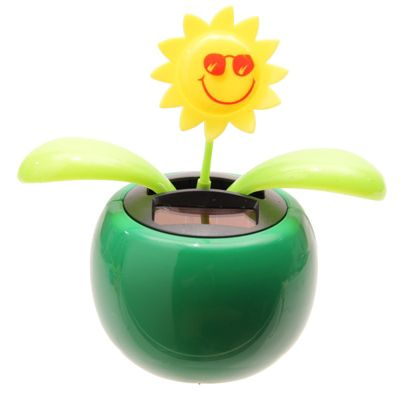 Sunflower Solar Pal Novelty Ornament, Green