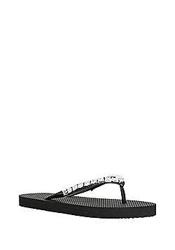 F&F Jewelled Flip Flops - Black
