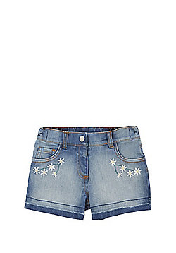 F&F Daisy Embroidered Denim Shorts - Blue