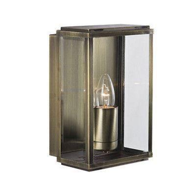 OUTDOOR WALL & PORCH LIGHT - 1 LIGHT ANTIQUE BRASS RECTANGLE BOX