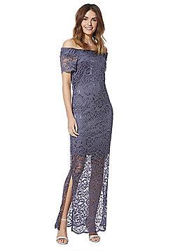 Vila Lace Bardot Dress - Blue grey