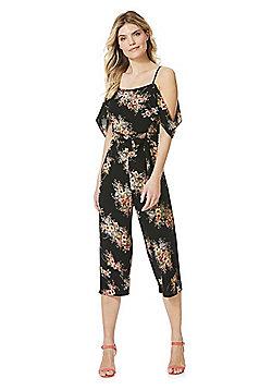 AX Paris Floral Print Chiffon Jumpsuit - Black multi
