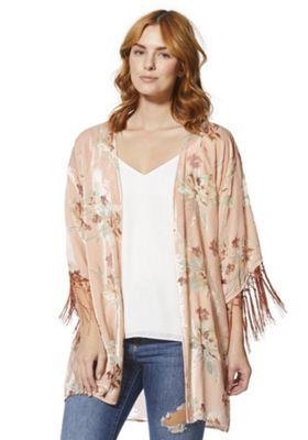F&F Floral Burnout Velour Kimono Blush Pink 20-22