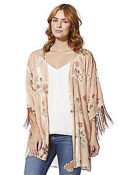 F&F Floral Burnout Velour Kimono - Blush Pink