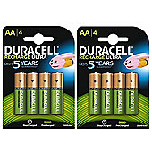 8 X Duracell AA 2500 mAh Rechargeable Batteries NiMH