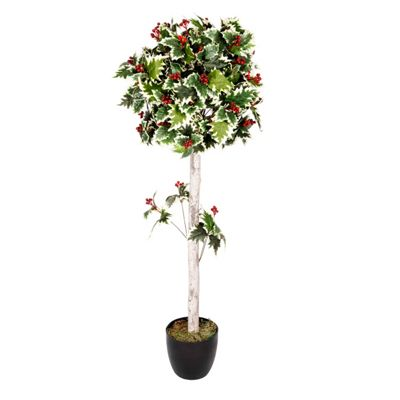 Homescapes Green 4 ft Holly Ball Artificial Tree with Red Berries and Frosted Trunk