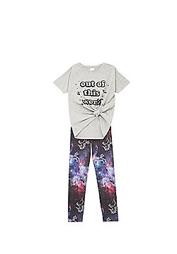 F&F Slogan T-Shirt and Unicorn Galaxy Leggings Set - Grey & Purple