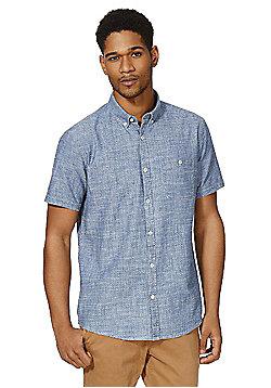 F&F Dobby Indigo Yarn Short Sleeve Shirt - Light blue