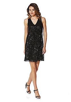 F&F Sequin Shift Dress - Black