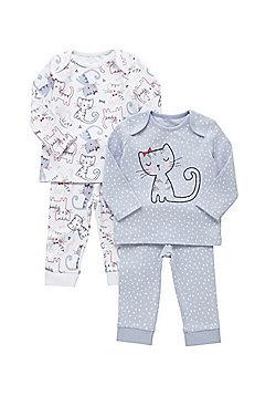 F&F 2 Pack of Kitten Print Pyjamas - Blue