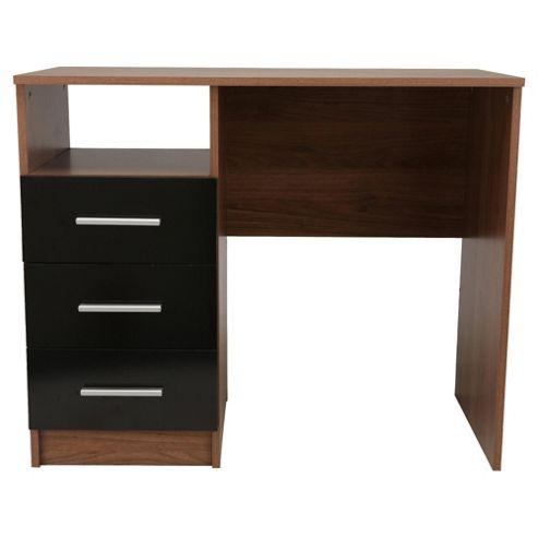 Jazz 3 Drawer Desk, Walnut/Black Gloss