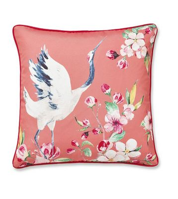 Catherine Lansfield Heron Cushion Cover - Coral