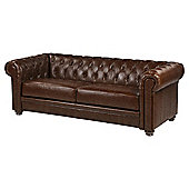 Mortimer Chesterfield Large 3 Seater Leather Sofa, Chocolate Brown