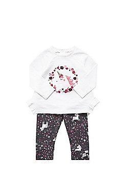 F&F Unicorn Embroidered T-Shirt and Leggings Set - Multi