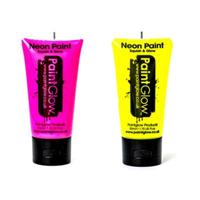 PaintGlow Set of 2 Large Body Paints -Pink,Yellow