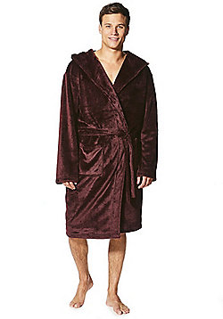 F&F Fleece Dressing Gown - Burgundy