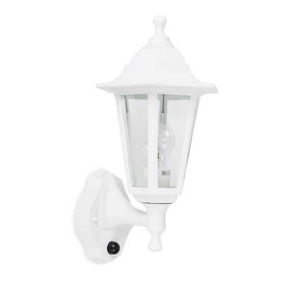 Traditional IP44 Outdoor Wall Lantern in Matt White with Dusk to Dawn Sensor