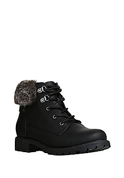 F&F Faux Fur Trim Hiker Style Boots - Black
