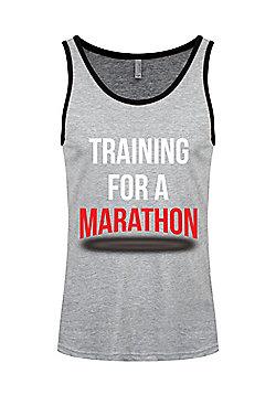Training For A Marathon Heather Grey & Men's Ringer Vest, Black. - Silver