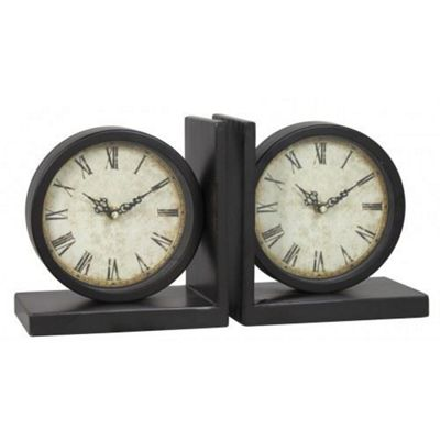 Set Of 2 Black Clock Bookends Old World Style Home Decor