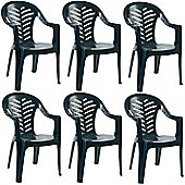 Resol Palma Garden Chair - Green - Patio Outdoor Plastic Furniture (Pack of 6)