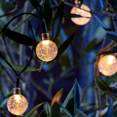Set of 20 Crystal Ball LED Solar String Lights - Warm White