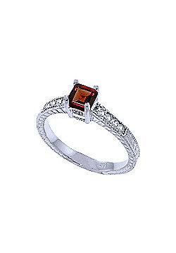 QP Jewellers Diamond & Garnet Ornate Gemstone Ring in 14K White Gold