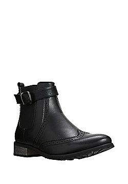 Manfield Brogue Detail Ankle Boots - Black