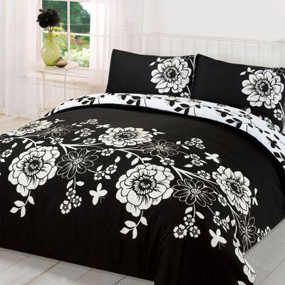 Duvet Cover with Pillow Case Set Roslyn Floral, Black White - King Size