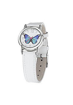 Jo For Girls White Leather Strap Blue Butterfly Watch