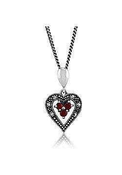 "Gemondo Sterling Silver 0.12ct Garnet & Marcasite Heart 45"" Necklace"