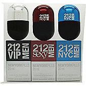 Carolina Herrera 212 Men New York Pills Gift Set 20ml 212 VIP Men EDT + 20ml 212 Sexy Men EDT + 20ml 212 Men NYC EDT For Men