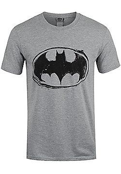 DC Comics Batman Sketch Logo Grey Men's T-shirt - Silver