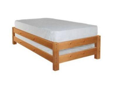 Comfy Living 3ft Single Stacker Wooden Bed Frame in Caramel with 1 Sprung Mattress