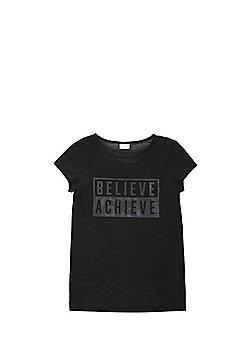 F&F Believe Achieve Slogan Mesh T-Shirt and Vest Set - Black