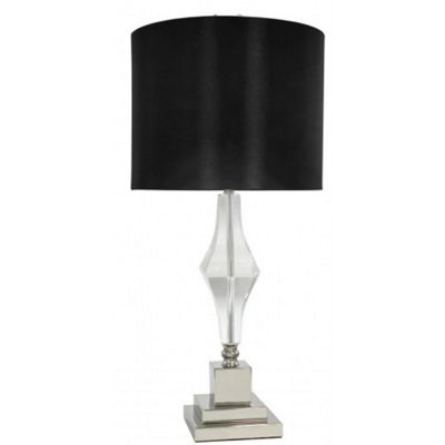 Sandringham Cut Glass Table Lamp With Black Linen Shade
