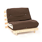 Comfy Living 2ft6 Small Single Futon Set incl. Mattress and Wooden Base in Chocolate & Cream