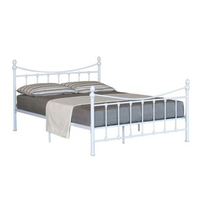 Comfy Living 4ft small Double Vintage Style Metal Bed Frame with Metal Finials in White with Basic Budget Mattress
