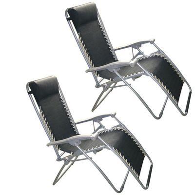 2 x Black Zero Gravity Reclining Garden Chair
