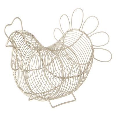 Eddingtons Chicken Shape Wire Egg Storage Basket, Cream