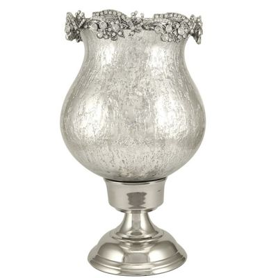 Antique Silver Etched Glass Goblet Hurricane Candle Holder