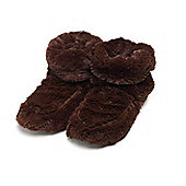 Intelex Brown Microwavable Cozy Plush Heatable Slippers Boots