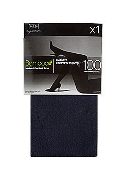 F&F Signature 100 Denier Appearance Knitted Tights with Bamboo Fibres - Navy