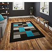 Matrix Check Border Black & Blue Runner - 60x225cm