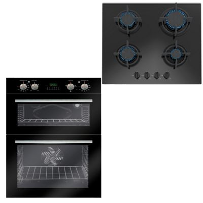 SIA 60cm Built Under Black Double Electric Fan Oven & 4 Burner Gas on Glass Hob