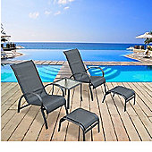 Outsunny Garden Patio Lounger 5 pcs Set reclined Chair Coffee Table Aluminium Frame Black