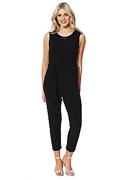 F&F Bar Detail Tie Waist Jersey Jumpsuit - Black