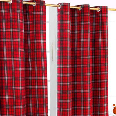 Homescapes Edward Tartan Check Ready Made Eyelet Curtain Pair, 137 x 182 cm Drop