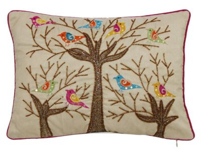 Sequin Bird Tree Cushion Beautiful Embroidered Finish